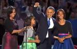 Barack Obama cu familia la discursul sustinut cu ocazia realegerii