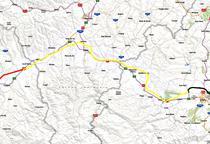 Autostrada Orastie - Sibiu (cu galben)