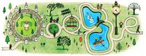 Doodle cu parcul Cismigiu facut de Sophia Foster Dimino