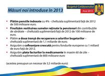 Cheltuielile noi angajate de Guvern in 2013 fata de 2012