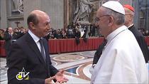 Papa Francisc si Traian Basescu / Foto: Captura Vatican TV