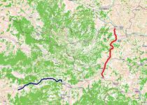 Autostrazile Dumbrava-Deva (albastru) si Sebes-Turda (rosu)