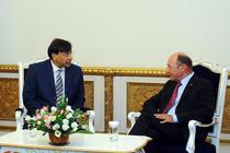 Traian Basescu si Lakshmi Mittal