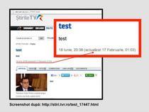 Captura ecran cu site-ul TVR, editata de Mona Dirtu