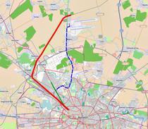 Traseul viitoarei linii de metrou (mov) si traseul actualei linii CF (rosu)