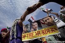 Manifestatii in fata Casei Albe pro si contra unui atac militar asupra Siriei