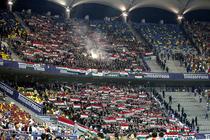 Suporteri maghiari in tribunele Arenei Nationale din Bucuresti, la meciul Romania - Ungaria