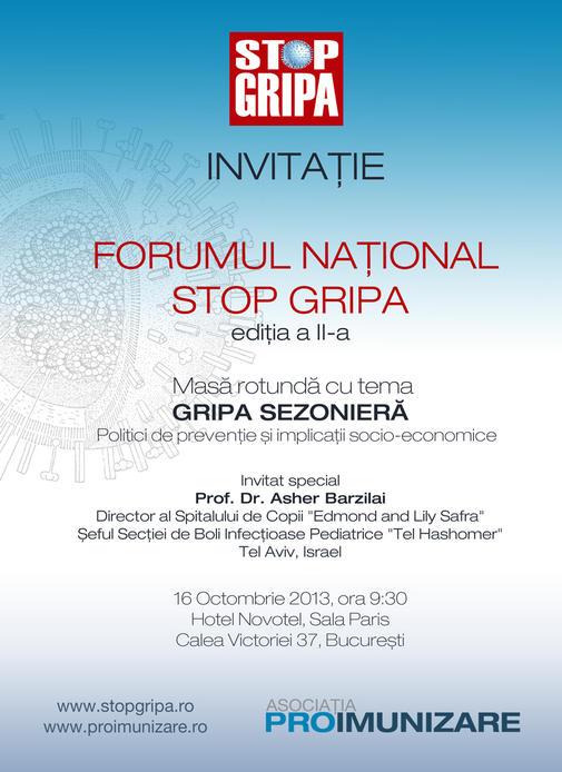 Invitatie Forum Stop Gripa - 16 Octombrie 2013