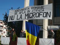 Bannerul afisat la manifestarile de la Bacau