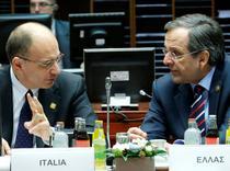 Premierul Italiei, Enrico Letta, si premierul Greciei, Antonis Samaras