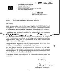 Scrisoarea CE catre MFE (fragment)
