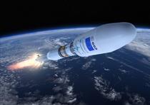 Reprezentare artistica: Sentinel-1A, transportat de o racheta Soyuz