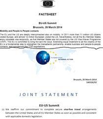 Prezentarea de dinaintea Summitului UE-SUA si Declaratia Comuna de la finalul Summitului