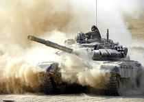 Tanc T-72 MBT, din dotarea armatei ruse, in timpul unui exercitiu militar