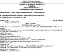 Subiecte Limba Romana - Simulare