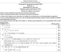 Barem Matematica Simulare clasa a XI-a