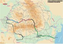 Coridorul feroviar (tronsonul albastru reprezinta tronsoanele licitate)