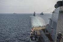 Fregatele romanesti - Maria si Marasesti - vazute de la bordul USS Donald Cook
