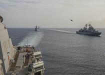 Fregatele Maria (centru-stanga) si Marasesti (dreapta) - exercitii navale in Marea Neagra