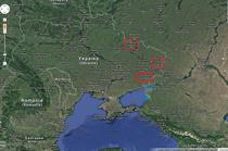 Donetsk, Harkov si Luhansk pe harta Ucrainei