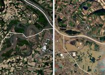 Zonele inundate din Balcani - inainte si dupa potop