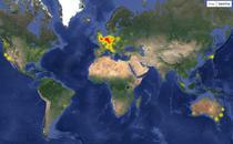 Harta utiliaztorilor care au raportat ca Facebook a picat (19 iunie)