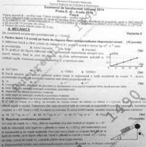 Subiectele examenului de Fizica - BAC 2014