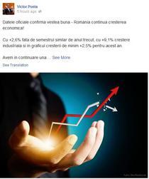 Postarea lui Ponta despre intrarea Romaniei in recesiune