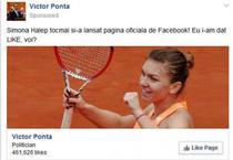 Victor Ponta profita de imaginea Simonei Halep