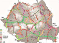 proiectele rutiere propuse in MPGT si suprapunerea lor cu reteaua TEN-T Core (culoar verde) si Comprehensive (culoar galben)