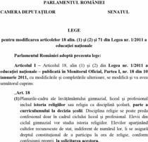 Proiectul legislativ propus Parlamentului de tineri