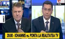 Klaus Iohannis and Victor Ponta during a televised debate