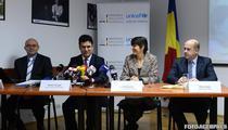Ciprian Fartusnic, Remus Pricopie, Sandie Blanchet si Pierre Varly, la lansarea studiului la sediul UNICEF