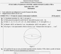Model Subiect de Matematica - Evaluarea Nationala 2015