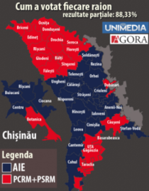 Distributia voturilor pe raioane