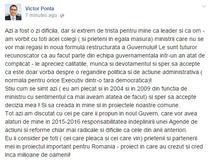 Mesajul lui Ponta pe Facebook