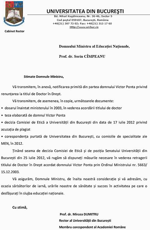 Universitatea Din Bucuresti A Trimis Adresa Oficiala