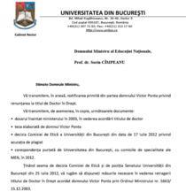 Adresa trimisa de Universitate catre Ministerul Educatiei