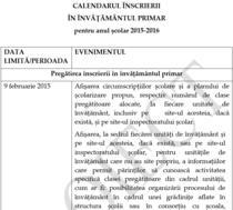 Proiect - Calendarul inscrierii in clasa pregatitoare 2015