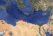 Portul libian Derna pe harta