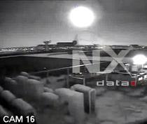 Momentul in care meteoritul se aprinde la intrarea in atmosfera