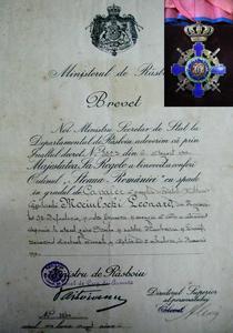 Decret de acordare a ordinului de Cavaler lui Leonard Mociulschi