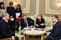 Putin, Porosenko, Merkel si Hollande la Minsk