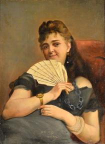 Constantin Stahi Portret de tanara cu evantai
