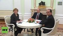 Putin, Merkel si Hollande, discutii la Kremlin