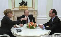 Merkel, Putin si Hollande, discutii la Kremlin