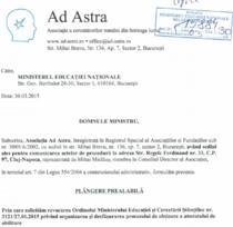 Fragment din plangerea prealabila depusa de Ad Astra la Ministerul Educatiei