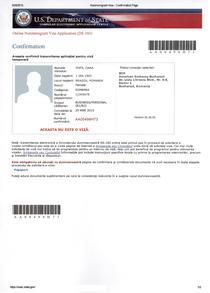Confirmarea completarii formularului DS 160
