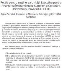 Petitie a studentilor pentru sustinerea UEFISCDI