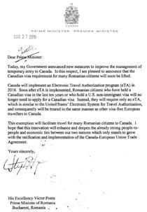 Scrisoarea trimisa de premierul canadian lui Victor Ponta